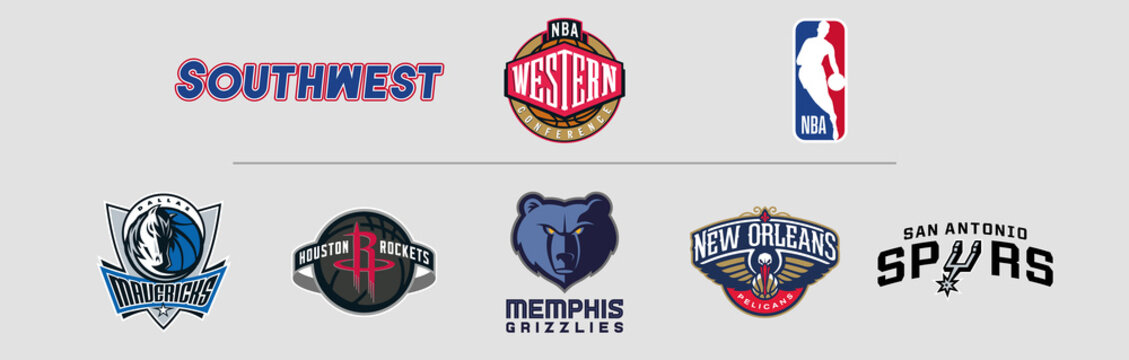 NBA Western Conference Southwest logos, scaleable vector file, transparent.