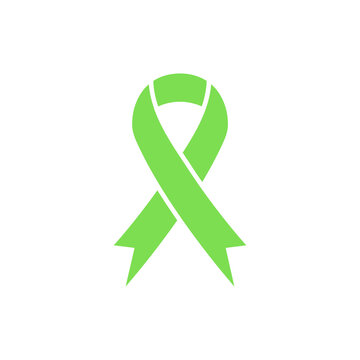 Green awareness ribbon icon. Organ Transplant and Organ Donation Awareness ribbon. Scoliosis, Lymphoma, Mental health sign. Gallbladder and Bile Duct Cancer symbol.
