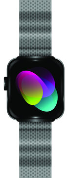 Smart electronic - watch. Metal watch strap. Preset background.Realistic vector EPS10.