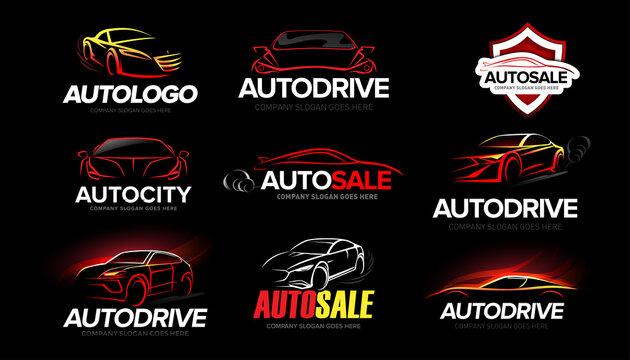 Automotive Car Logo Template Design set. Auto car dealer logo design with concept sports vehicle icon silhouette on black background. Vector illustration.
