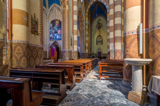 San Lorenzo cathedral interior view in Alba, Italy.