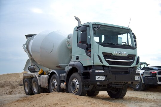 Iveco truck in the sandpit. Stralis 420 in concrete mix version. 10-26-2018, South Moravia, Czech Republic.