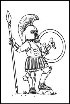 Greek hoplite with spear for coloring. Vector template for children.