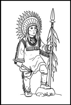 Indian chief with tomahawk for coloring. Vector template for children.
