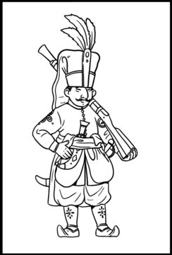 Turkish soldier Janissary for coloring. Vector template for children.