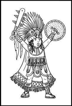 Indian maya chief for coloring. Vector template for children.