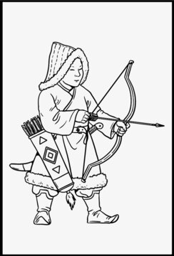 Mongolian archer for coloring. Vector template for children.