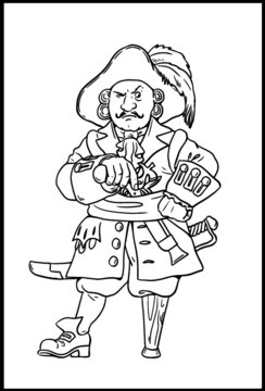 Pirate captain with the wooden leg for coloring. Vector template for children.