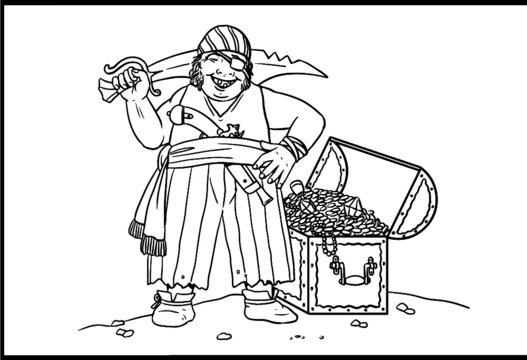 Pirate with the treasure chest for coloring. Vector template for children.