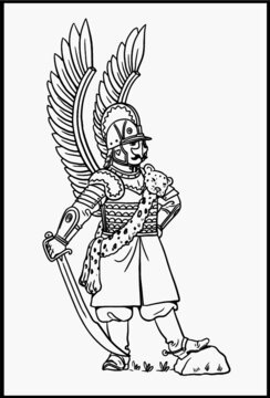 Winged polish hussar for coloring. Vector template for children.