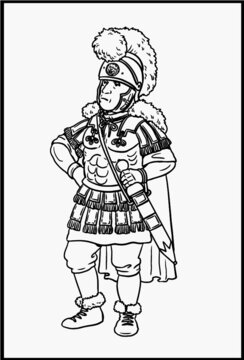 Roman officer legatus for coloring. Vector template for children.