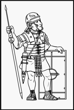 Roman legionnaire for coloring. Vector template for children.