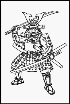 Samurai with japanese sword katana for coloring. Vector template for children.