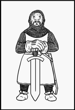 Templar knight for coloring. Vector template for children.