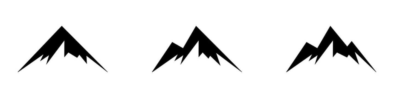 Mountain shape collction. Mountain icon set. Mountain vector logo, sign, symbol. Nature landscape. Adventure tourism. Design element. Vector image. Vector sign. Tourism concept.