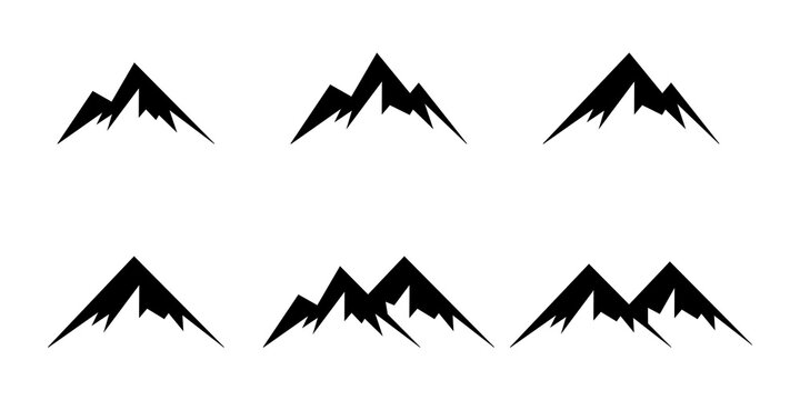 Mountain icon set. Mountain shape collction. Mountain vector logo, sign, symbol. Nature landscape. Adventure tourism. Design element. Vector image. Vector sign. Tourism concept.