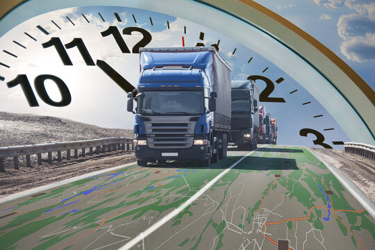 Trucks on the Geographic Map and the Clock Face above them. Fast International  Delivery Concept