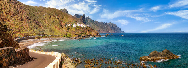 Fantastic coastal road along the cliffs in Benijo, Tenerife, Canary Islands, Spain