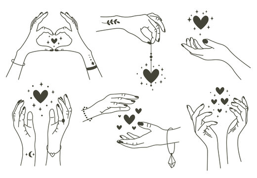 Magic hands with hearts. Boho linear style mystical hand, hand drawn arms with magic heart. Magical hands keep hearts vector symbols set. Arms with tattoos and bracelets, love concept