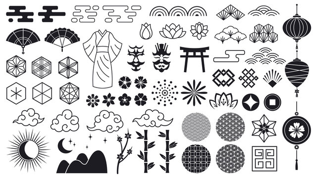 Asian oriental elements. Japanese or chinese flowers, ornaments, clouds and lanterns, asian traditional icons. Oriental culture vector symbols as bamboo branches and kimono isolated