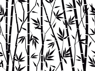 Bamboo forest texture. Bamboo forest silhouette, bamboo plants with leaves backdrop, asian bamboo stalks pattern vector background illustration. Tree branches with foliage for fabric