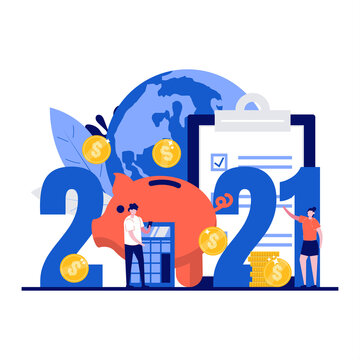 Budget for new 2021 year concept with character. Business or family financial planning. People stand near 2021 date, calculator, coin, world. Modern flat style for landing page, hero images