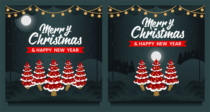 Merry Christmas and Happy New Year social media post, Banner template with Christmas tree