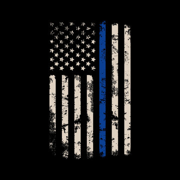 Thin blue line american flag vector design