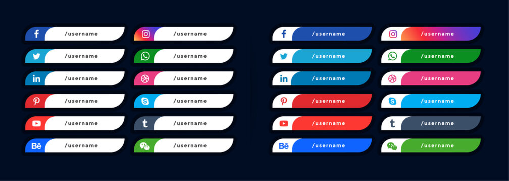 social media icons lower third banners template