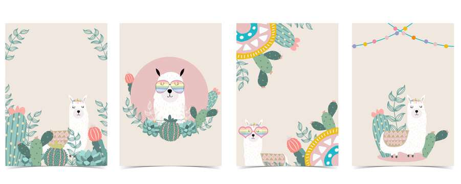 Collection of animal background set with llama, cactus,flower.Editable vector illustration for website, invitation,postcard and sticker