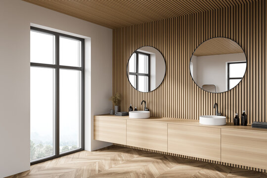 Wooden bathroom corner with double sink