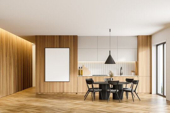Wooden kitchen with table and poster