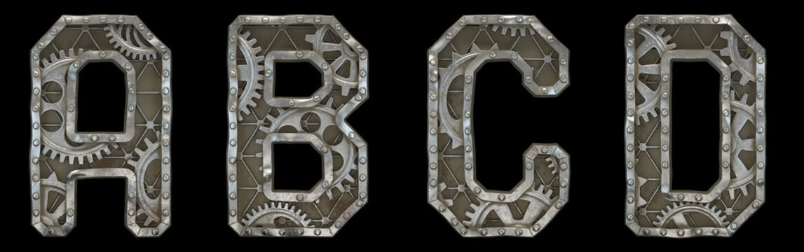 Mechanical alphabet made from rivet metal with gears on black background. Set of letters A, B, C, D. 3D