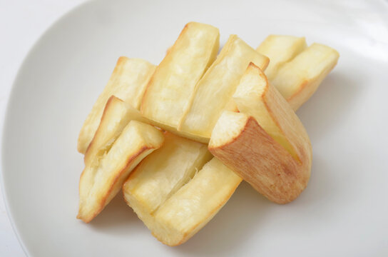 Fried Cassava on a white plate