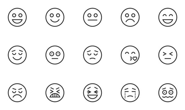 Set of Emotions Vector Line Icons. Smile Icons, Emoji. Feedback, Satisfaction Level. Angry, Sad, Neutral, Happy Emoticons. Editable Stroke. 48x48 Pixel Perfect.