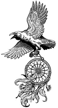 Raven carrying dream catcher. American native indians dreamcatcher. A crow in flight. Black and white tattoo style vector illustration