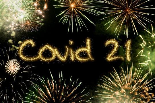 2021 New Year fireworks background, coronavirus covid concept