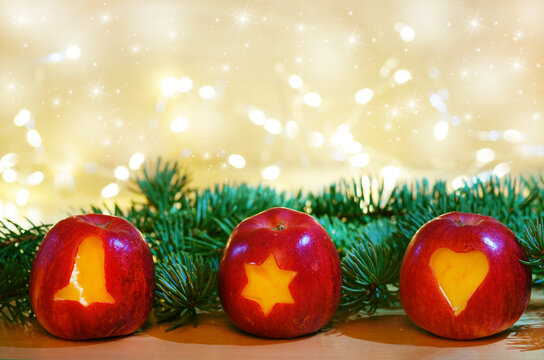 Christmas apples with fir branches, copy space