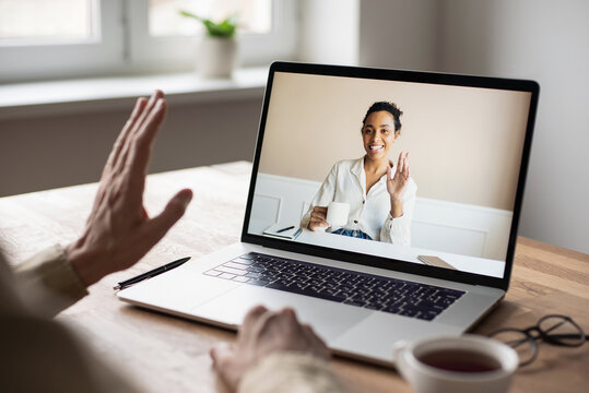 Meeting online. Man having discussion or web conference chat, Work or study from home, freelance, online video conferencing, web chat meeting, distance education, dating online concept