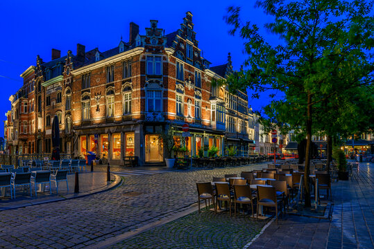 Old square in Ghent (Gent), Belgium. Architecture and landmark of Ghent. Night cityscape of Ghent.