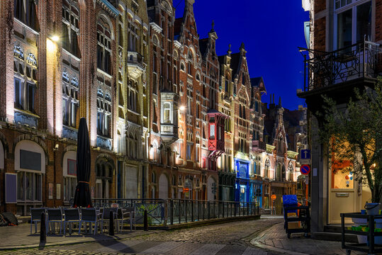 Old street in Ghent (Gent), Belgium. Architecture and landmark of Ghent. Night cityscape of Ghent.