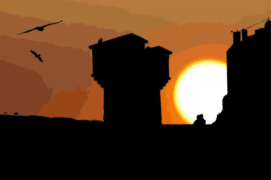 Silhouette of a couple looks at sunset on a castle