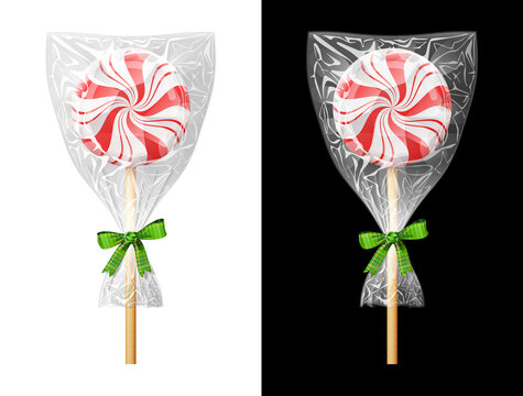 Round candy on stick in plastic wrapper with bow. Festive wrapped lollipop isolated on white and black background. Vector illustration for christmas, sweet food, new years day, holiday, dessert, etc