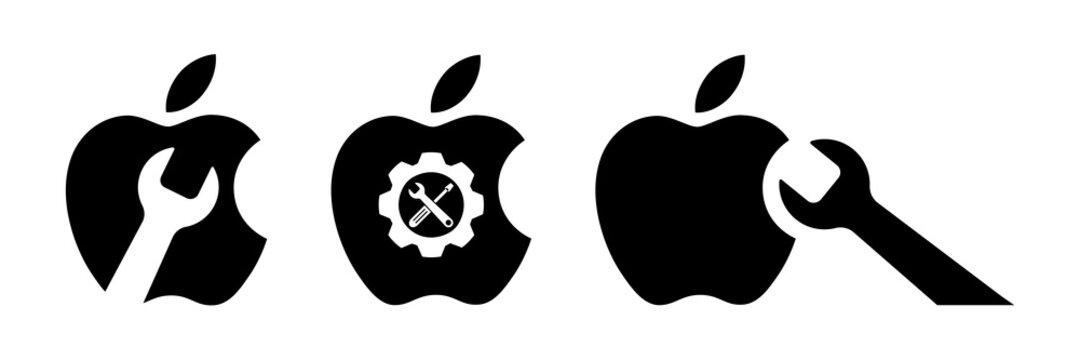 Repairing of Apple iMac, MacBook, iPhone, iPad. Toolkit. Toolbox. Wrench and screwdriver icon. Work tools. Repairing, service tools. Kyiv, Ukraine - November 8, 2020