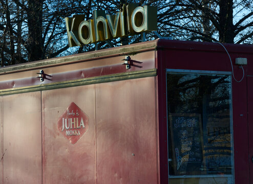 closed in the fall for the winter kiosk selling ice cream and coffee in Finland