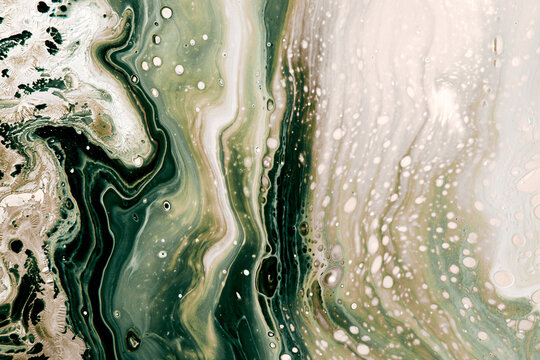 Abstract muted green bubbles and waves. Acrylic Fluid Art. Art Deco marbling background or texture