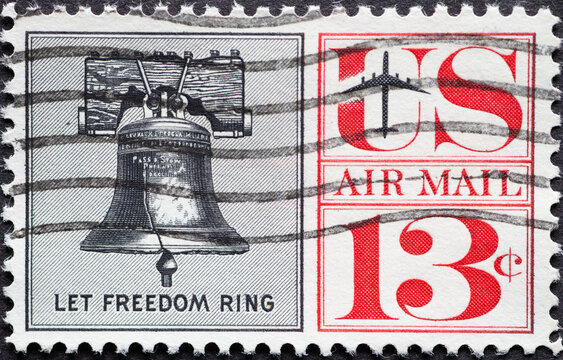 USA - Circa 1961 : a postage stamp printed in the US showing the Liberty Bell. Airmail text: Let Freedom Ring