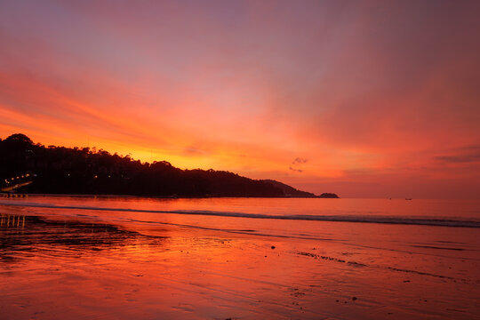 .beautiful sky during sunset at Patong beach Phuket Thailand.
