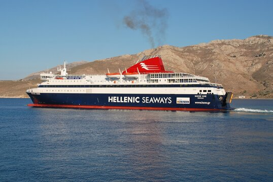 Hellenic Seaways ferry Nissos Chios departs Livadia harbour on the Greek island of Tilos on June 18, 2018. The 141mtr vessel was built in 2007 in Greece.
