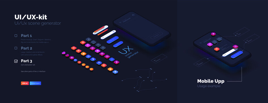 Toolkit-UI/UX scene creator. Part 3 Mobile application design. Smartphone mockup with active blocks and connections. Creation of the user interface. Modern vector illustration isometric style